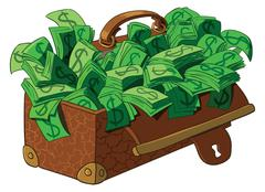 Old suitcase with banknotes - stock illustration
