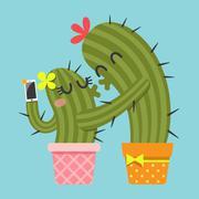 Kissing couple of cactus taking selfie Stock Illustration
