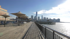 Along the riverside at the Exchange Place, Jersey City Stock Footage