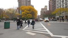Crosswalk on Chambers Street near Washington Market Park Stock Footage