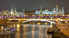 Moscow Kremlin At Night. Time Lapse. Loop 26 second Stock Footage