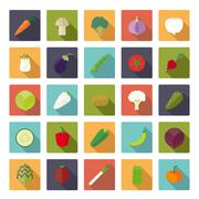 Vegetables Flat Icons Vector Icon Set - stock illustration