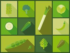 Green vegetable icons vector illustration. - stock illustration