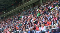 Crowd watching hockey match- GreenFields Stadium in The Hague, Netherlands Stock Footage