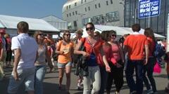Crowd gathering- talking and walking  Stock Footage
