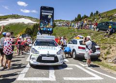 Alcatel One Touch Car in Pyrenees Mountains - stock photo