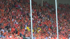 Flying camera- on stadium Stock Footage