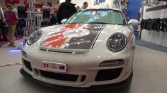 4k Carbon Porsche front view at Motorshow exhibition - stock footage