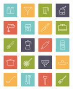 Cooking Appliances Vector Line Icons Collection Stock Illustration