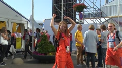 girl enjoying and dancing on public place - stock footage