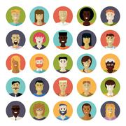 Flat Design Everyday People Avatar Vector Icon Set - stock illustration