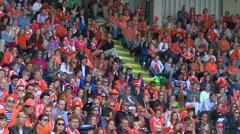 Pan camera on seeting crowd on stadium Stock Footage