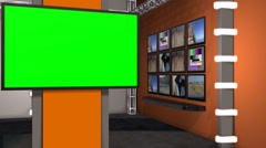 News Studio - Virtual Studio - green screen Stock Footage