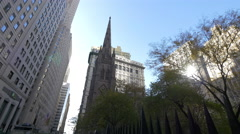 Trinity Church on Broadway in the afternoon Stock Footage