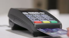Using credit card terminal for payment - stock footage