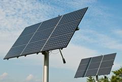Renewable Energy - Photovoltaic Solar Panel Arrays Stock Photos