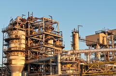Petrochemical Refinery in the Evening Stock Photos
