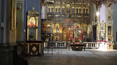 The interior of the Orthodox Church in Ukraine, city of Lviv Stock Footage