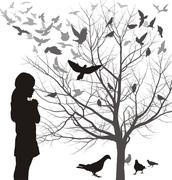 A girl admires the birds - stock illustration