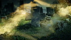 Very old tombstones in a very old abandoned cemetery Stock Footage