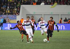 Football game Shakhtar Donetsk vs Bayern Munich Stock Photos