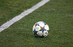 Close-up official UEFA Champions League season ball Stock Photos