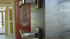 Dolly: Door hardware, knobs, levers in the doors store showroom Stock Footage