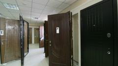 Door store showroom - internal and external doors Stock Footage