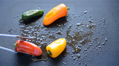 Peppers Turned Around On The Grill Stock Footage