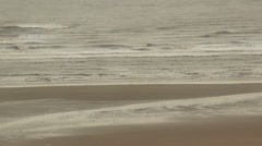 beach sea and waves overcast dull day 1 - stock footage