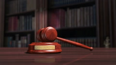 A judges gavel and sound block Stock Footage