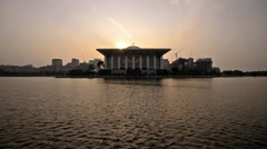 Sunrise At Tuanku Mizan Zainal Abidin Mosque, Putrajaya, Malaysia. Stock Footage