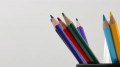Stock Video Footage of Pencils in a Box On White Background
