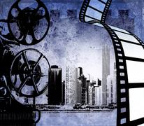 Vintage film strip background with old projector and city skyline - stock illustration