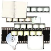Vintage film strip background with notebooks and cracked light bulb - stock illustration