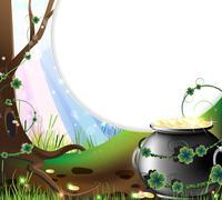 Leprechaun's treasure - stock illustration