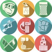 Flat colored icons collection for paintball Stock Illustration