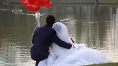 The bride and groom looking at swans on the lake Stock Footage