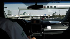 Inside a Taxi Cab in a Modern Arab City Stock Footage