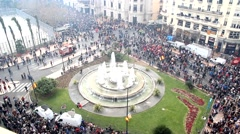 Crowds of people in the streets of downtown Valencia, Spain. Stock Footage