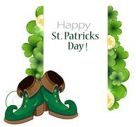 Leprechaun green shoes - stock illustration