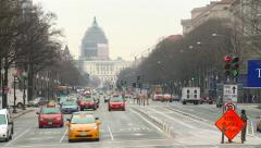 Pennsylvania Avenue with view on Capitol - stock footage