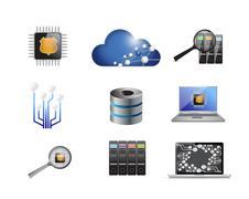 Modern electronics concept icon set Stock Illustration