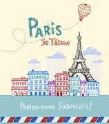Paris post card - stock illustration