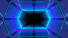 Neon Cosmic Blue Tunnel 04 - stock footage