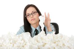 Illnes of working woman - stock photo