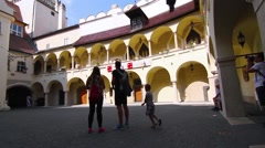 People visiting the slovak Old Town Hall in Bratislava, Slovakia Stock Footage