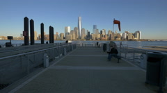 Panoramic view of New York seen from Jersey City 4K video Stock Footage