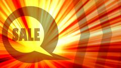 Sale text in bubble speech moving horizontal Stock Footage