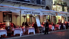 Open air restaurant on the Piazza Navona. Rome Stock Footage